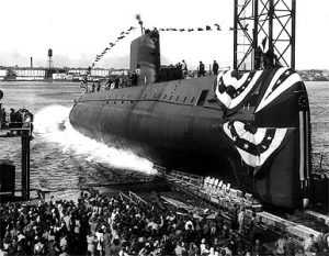 The nuclear sub Nautilus is launched into the Thames River in 1954. U.S. Navy photo.