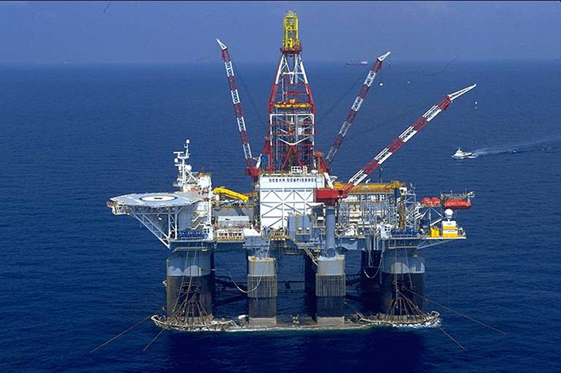 Ocean Confidence, a semisubmersible deepwater drill rig used in the Gulf of Mexico. Image via BOEM/Courtesy of Diamond Oil.