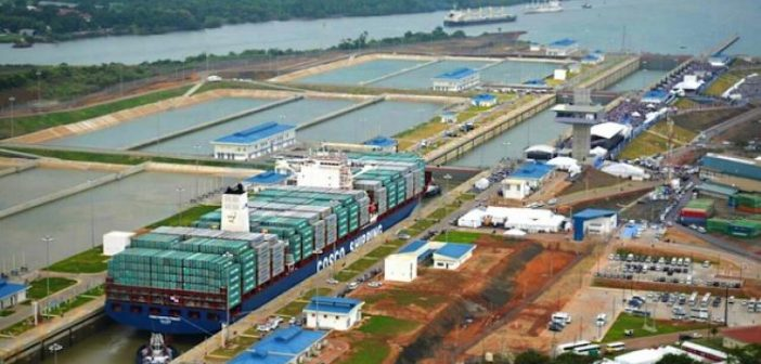 The container ship Cosco Shipping Panama transits the expanded Panama Canal June 26. Panama Canal Authority photo