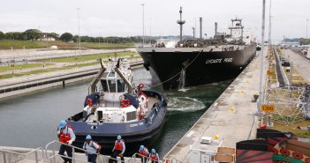 The LPG tanker Lycaste Peace transits the expanded Panama Canal June 27. Panama Canal Authority photo