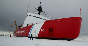 The Coast Guard heavy icebreaker Polar Star sits on the ice in the Ross Sea near Antarctica while underway in support of Operation Deep Freeze 2015. Both Polar Star and sistership Polar Sea were fitted with lignum vitae wood bearings. USCG photo.
