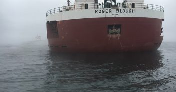 The freighter Roger Blough remains grounded in the vicinity of Gros Cap Reef in Whitefish Bay, Lake Superior, May 28, 2016. USCG photo.