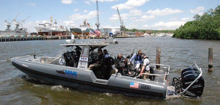 The new Multi-Mission Interceptor by SAFE Boats International, Bremerton, Wash., debuted at the Multi-Agency Craft Show this week. Kirk Moore photo.