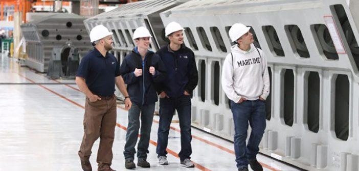 SUNY Maritime College cadets tour the Wärtsilä engine facility in Trieste, Italy. SUNY Maritime photo.