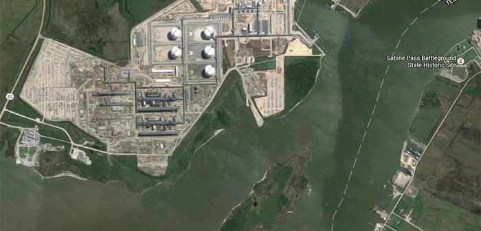 A 2016 satellite photo shows Cheniere Energy's operation at Sabine Pass in Louisiana. Image via Google Maps.