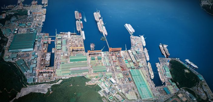 An aerial view of the Samsung Heavy Industries shipyards in South Korea. Samsung Heavy Industries photo.