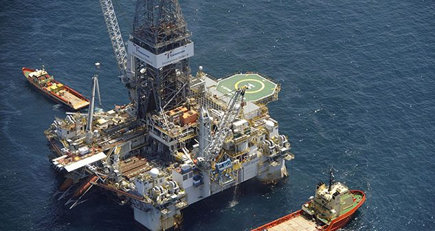 Service vessels alongside Transocean's Development Driller II in the Gulf of Mexico, May 2010. USCG photo.