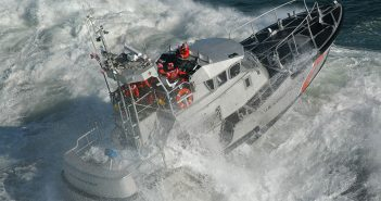 A 47' foot motor lifeboat during a surf drill. The Coast Guard is planning to repower the fleet of lifeboats due to aging engines. USCG photo.