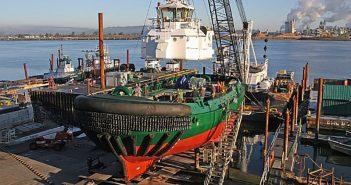 A tug in progress at Foss Maritime's Rainer, Wash., shipyard. Foss Maritime photo.