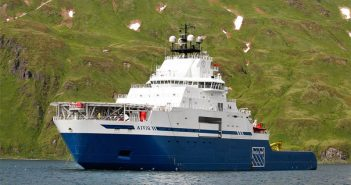 Edison Chouest's icebreaking tug Aiviq. Royal Dutch Shell photo.