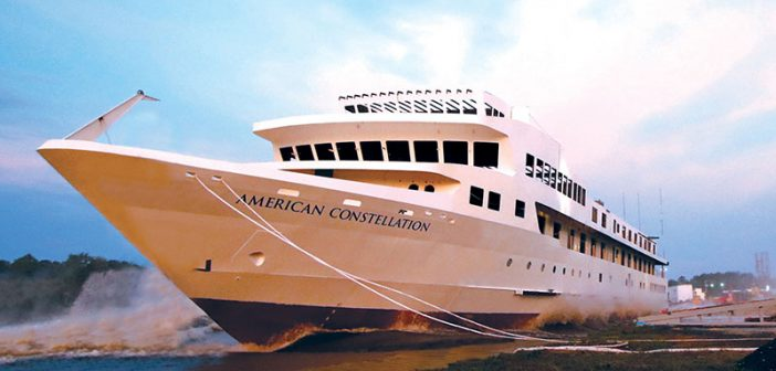 The American Constellation was launched July 9 at Chesapeake Shipbuilding in Salisbury, Md. American Cruise Lines photo.