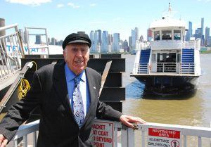 NY Waterway CEO Arthur Imperatore with the ferry Thomas Jefferson approaching the Weehawken, N.J., terminal. Kirk Moore photo.