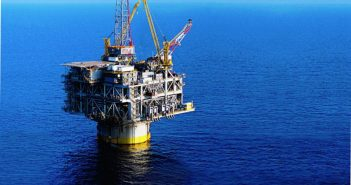 An Exxon deepwater platform in the Gulf of Mexico. Exxon photo.