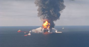 Offshore service vessels battle the blazing remnants of the off-shore oil rig Deepwater Horizon April 21, 2010. USCG photo.