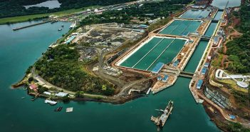 An aerial photo shows expanded locks on the Panama Canal. Panama Canal Authority photo.