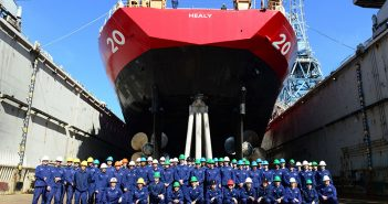 Crewmembers from the USCG medium icebreaker Healy pose for a crew photo while in dry dock at Vigor Shipyard in Seattle, March 31, 2016. USCG photo.