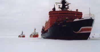 U.S. Coast Guard icebreaker Polar Sea and Canadian Coast Guard icebreaker Louis S. St. Laurent trail Russian icebreaker Yamal near the North Pole in 1994. USCG photo.