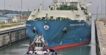 Maran Gas Apollonia, the first LNG carrier to transit the Panama Canal's expanded locks, in the Agua Clara locks on July 25, 2016. Panama Canal Authority photo.