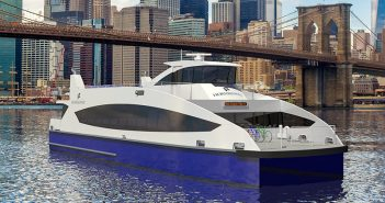 A rendering of the ferries Metal Shark and Horizon will build for Hornblower New York. Image courtesy Metal Shark.