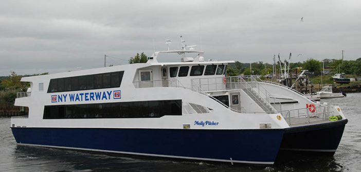 NY Waterway recently added two 400-passenger high-speed catamarans to its longest route between Manhattan and Belford, N.J. The 109'x31'x6' Molly Pitcher and Betsy Ross, built for $5.2 million each by Yank Marine in Tuckahoe, N.J., increased the fleet to 37 vessels and set a new industry standard for the region's growing ferry scene. Kirk Moore photo.