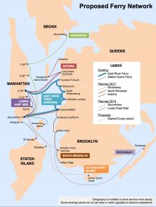 Route map for the proposed NYC ferry service. Image courtesy City of New York.