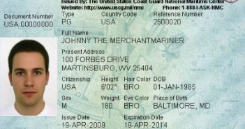A sample mariner credential. USCG image.