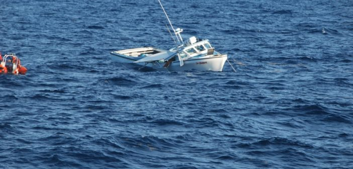 The fishing boat Sea Shepherd sinking after a Sept. 23, 2014 collision with the Coast Guard cutter Key Largo. Coast Guard photo