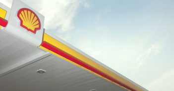 Shell's logo atop a U.S. service station. Shell photo.