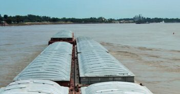 For several weeks, high water on the Upper Mississippi River has slowed barge traffic from St. Paul, Minn., to Davenport, Iowa. American Waterways Operators photo.