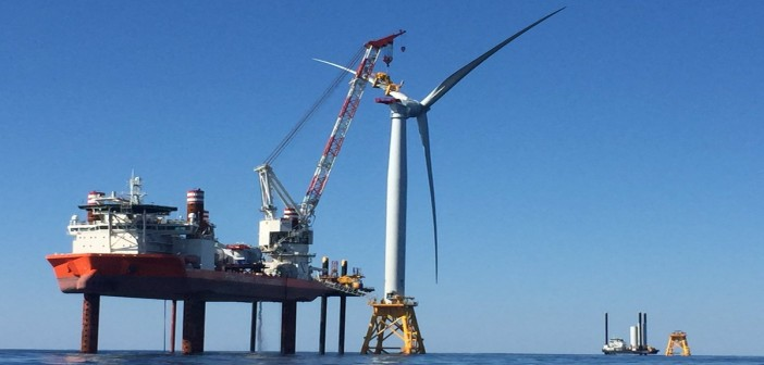 The jack-up vessel Brave Tern assembles the first turbine for the Deepwater Wind Block Island project. Deepwater Wind photo