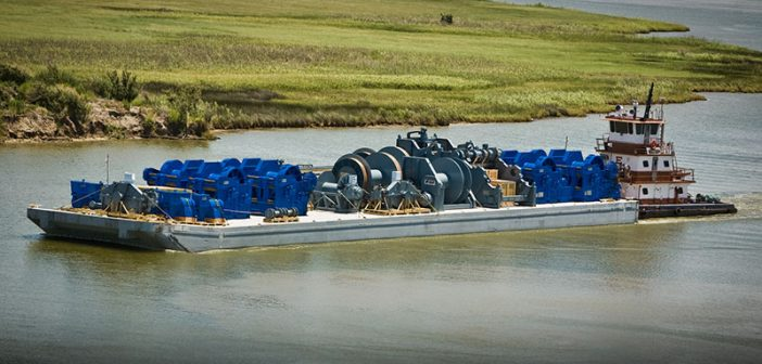 Echo Towing Services' 1,000-hp Tommy E. pushing a barge at High Island, Texas. American Waterways Operators photo.