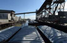 Grain barges tied up to a pier near the Port of New Orleans. USDA photo/ Anson Eaglin.