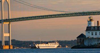 Blount Small Ship Adventures' cruise ship Grande Caribe in Narragansett Bay, Rhode Island.