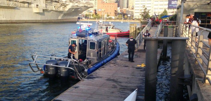 New York Police Department boats rescued kayakers after a ferry collision Tuesday. NYPD photo