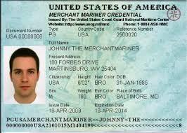 A sample Merchant Mariner Credential. U.S. Coast Guard