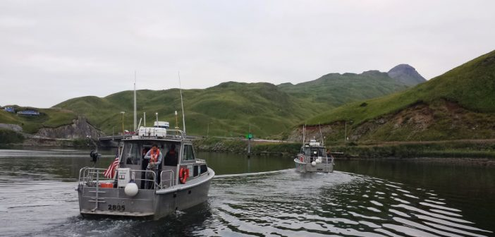 NOAA hydrographic ship lainches at Dutch Harbor, Alaska. NOAA photo.