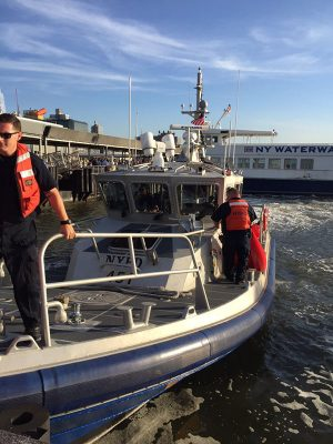 Responders aboard the P.O. Edward Byrne. NYPD photo/ J. Peter Donald.