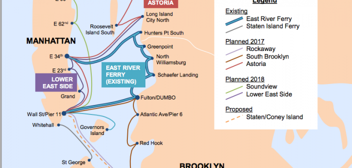 A map of routes for New York's Citywide Ferry Service. NYC Economic Development Corp.
