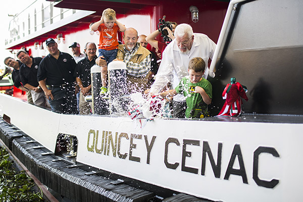 Christening the Quincey Cenac. Cenac Marine Services photo.