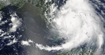 A satellite image of Hurricane Katrina (2005). NASA photo.