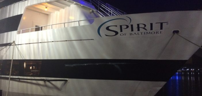 The cruise vessel Spirit of Baltimore allided with a pier Sunday, causing no injuries and only minor damage to the hull.