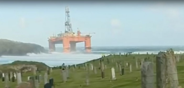 The Transocean Winner aground off the west coast of Scotland. YouTube screenshot/video by Kevin Forbes.