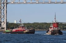 Tugboats on parade for the Cape Cod Canal centennial in 2014. Creative Commons photo by Just Me and the Clams (Flickr).