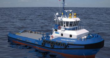 A rendering of the Damen Stan 3711 tug ordered by Young Brothers. Damen photo.