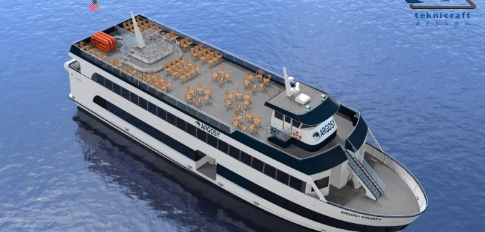 A 500-passenger vessel for Argosy Cruises will be the first project at All American Marine's new shipyard. Teknicraft Design rendering.