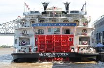 American Queen Steamboat's American Queen on the Mississippi River in New Orleans. David Krapf photo.