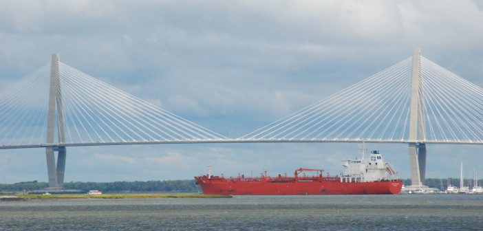 The tanker Conti Agulhas approaches the Arthur Ravenel Jr. bridge upon arrival in Charleston, S.C. Sept. 15. Kirk Moore photo.