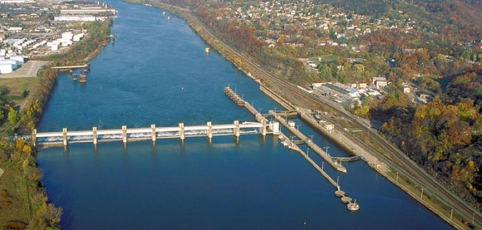 The Emsworth lock and dam on the Ohio River in Pennsylvania. USACE photo.