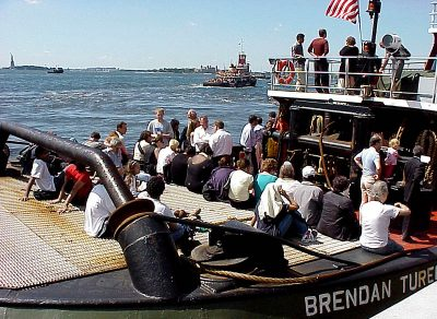 Evacuees aboard the Moran tug Brendan Turecamo on Sept. 11. USCG photo by Brandon Brewer.