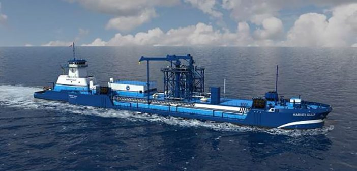 Artist's rendering of a new 4,000 cubic meter liquified natural gas ATB design from Harvey Gulf. Harvey Gulf image.